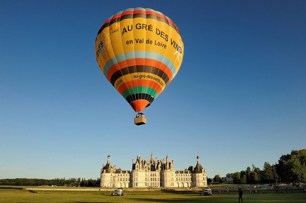 France, Loir et Cher, Loire Valley listed as World Heritage by UNESCO, Chateau de Chambord, air balloon taking off : Stock Photo
