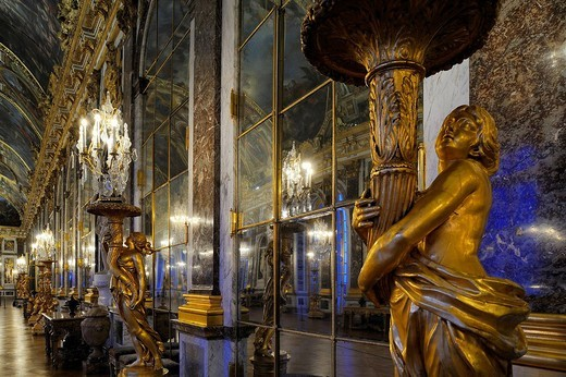 Stock Photo: 1792-119514 France, Yvelines, Chateau de Versailles, listed as World Heritage by UNESCO, Galerie des Glaces Hall of Mirrors, length 73m and width 10,50m, with 17 windows and 357 mirrors, architect Jules Hardouin Mansart 1678_1684
