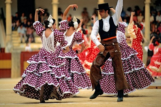 Spain, Andalusia, Malaga Province, Ronda, Dance Festival, show in the arena : Stock Photo