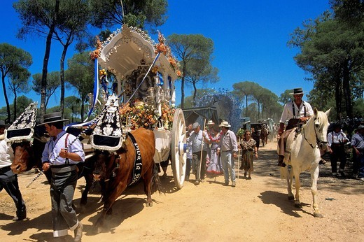 Spain, Andalusia, Huelva Perovince, El Rocio pilgrimage Pentecost, every city has its own brotherhood and a trolley to be represented : Stock Photo