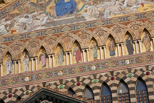 Stock Photo: 1792-120629 Italy, Campania, Amalfi Coast, listed as World Heritage by UNESCO, Amalfi, Sant´ Andrea Cathedral, detail of intersected arcatures and mosaics with scenes from the Apocalypse of John and the twelve apostles