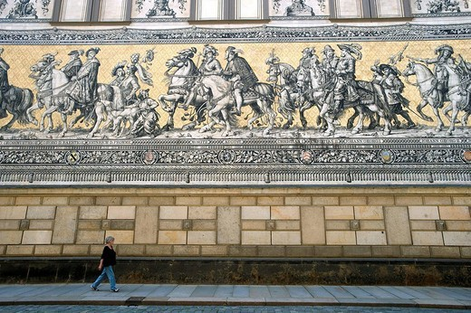 Germany, Saxony State, Dresden, old city Altstadt, castle and Furstenzug Procession of the dukes, big mosaic of 102 m 102 m : Stock Photo