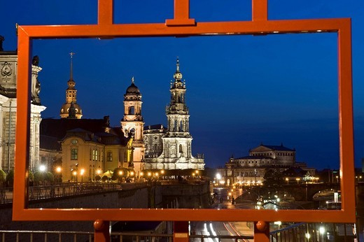 Stock Photo: 1792-121295 Germany, Saxony State, Dresden, old city Altstadt, Haussmann Tower, ancien Parlement, Hofkirche Catholic Court Church et Semperoper Opera Semper