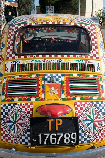 Italy, Sicily, Selinunte, painted car : Stock Photo