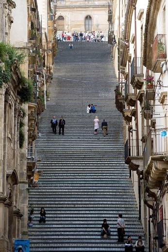 Italy, Sicily, Caltagirone, La Scalinata di Santa Maria del Monte, monumental staircase with 142 steps decorated with majolica in the heart of the city : Stock Photo