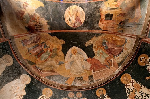 Turkey, Istanbul, historical centre listed as World Heritage by UNESCO, former Byzantine Church of Kariye Camii Chora Church converted into a museum, Paraclesion frescoes, the Resurrection of Christ and his descent into Limbos or Anastasis : Stock Photo