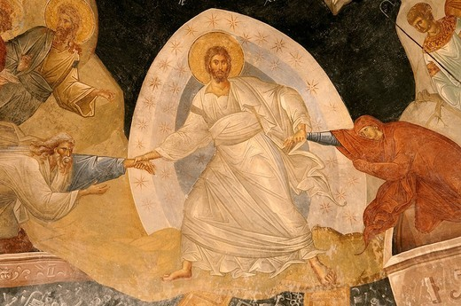 Turkey, Istanbul, historical centre listed as World Heritage by UNESCO, former Byzantine Church of Kariye Camii Chora Church converted into a museum, fresco representing a scene from the Old Testament, Christ in Limbo : Stock Photo