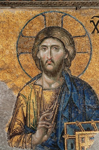 Turkey, Istanbul, historical centre listed as World Heritage by UNESCO, Sultanahmet District, Hagia Sophia Basilica, Byzantine mosaic with Christ Pantocrator : Stock Photo
