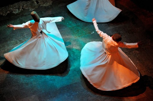 Turkey, Istanbul, whirling dervishes Sufi Group of the Istanbul Galata Mevlevi Lodge : Stock Photo