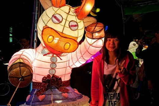 Taiwan, Kaohsiung, Lantern festival, giant cow shaped lantern paper : Stock Photo