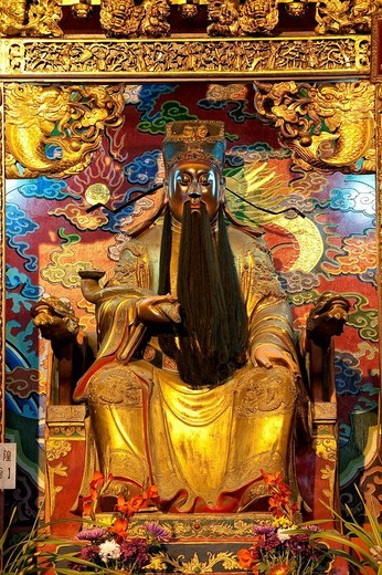 Taiwan, Nantou District, Sun Moon Lake Region, Confucius Temple Wenwu Temple, statue : Stock Photo