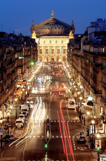 France, Paris, Garnier opera_house and Opera avenue : Stock Photo