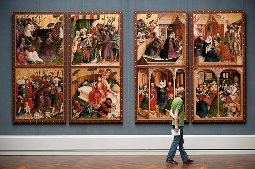 Germany, Berlin, Kulturforum, Gemäldegalerie Art Museum, altar piece of the of the Passion by Hans Mutschler : Stock Photo