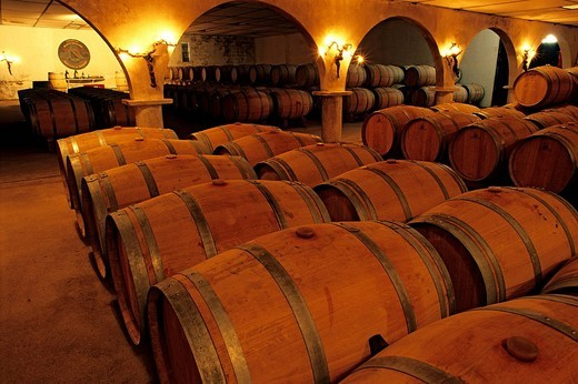 France, Gironde, wine warehouse of the Chateau Maucaillou, Cru Bourgeois of the Moulis en Medoc wines : Stock Photo