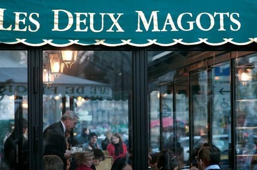 Stock Photo: 1792-123523 France, Paris, Saint Germain des Pres District, Les Deux Magots Cafe