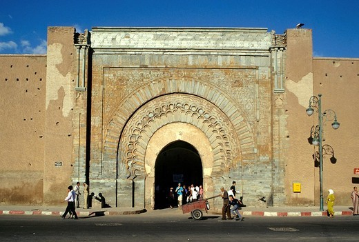 Morocco, High Atlas, Marrakesh, Imperial City, medina listed as World Heritage by UNESCO, Bab Agnaou Gate : Stock Photo