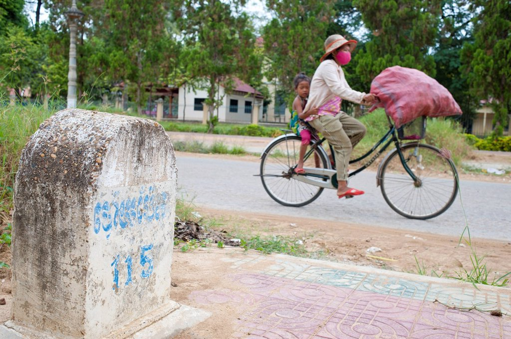 Cambodia, Battambang Province, town of Battambang, French kilometer marker of colonial time : Stock Photo