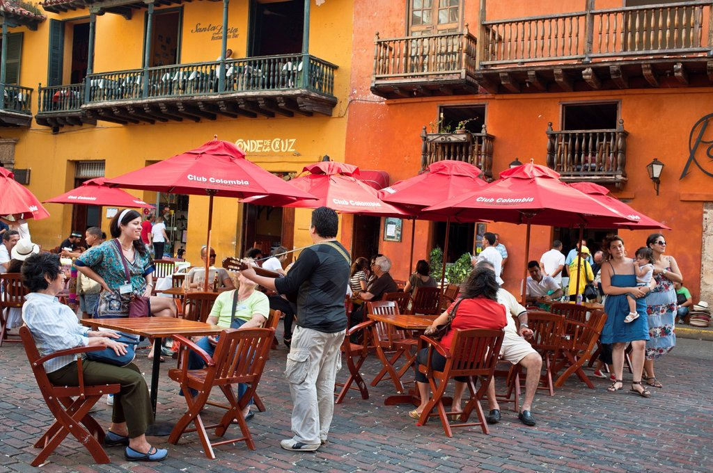 Colombia, Bolivar Department, Cartagena, listed as World Heritage by UNESCO, historical quarter, the old town, cafe terrace on Plaza de Santo Domingo : Stock Photo