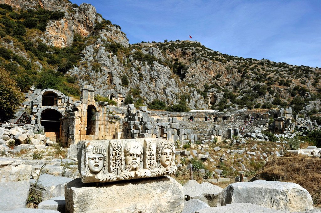 Stock Photo: 1792-126238 Turkey, Mediterranean Region, Turquoise Coast, Lycia, Kale Demre, Antique city of Mira, rupestrian tombs