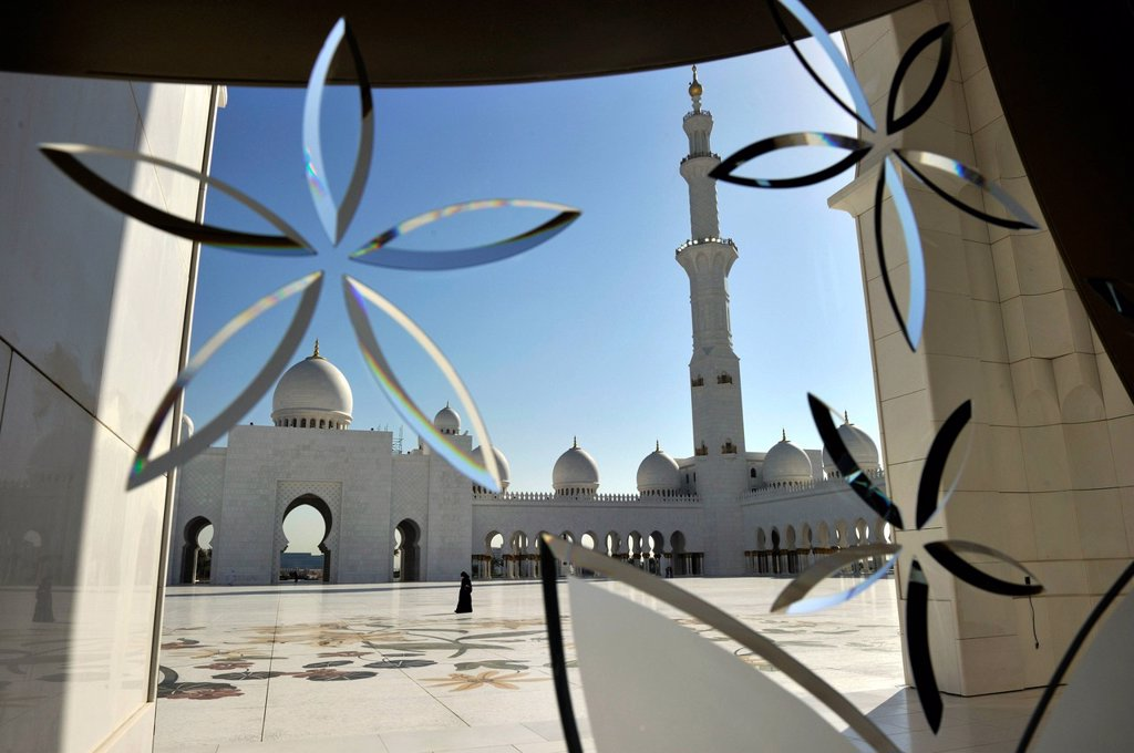 Stock Photo: 1792-126398 United Arab Emirates, Abu Dhabi, Sheikh Zayed Bin Sultan Al Nahyan Mosque