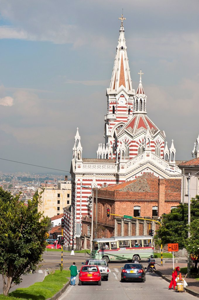 Colombia, Cundinamarca Department, Bogota, La Candelaria District, Our Lady of Carmen Church with Neo Gothic style, whose construction began in 1927 was declared a national monument the 30th of April 1993 : Stock Photo