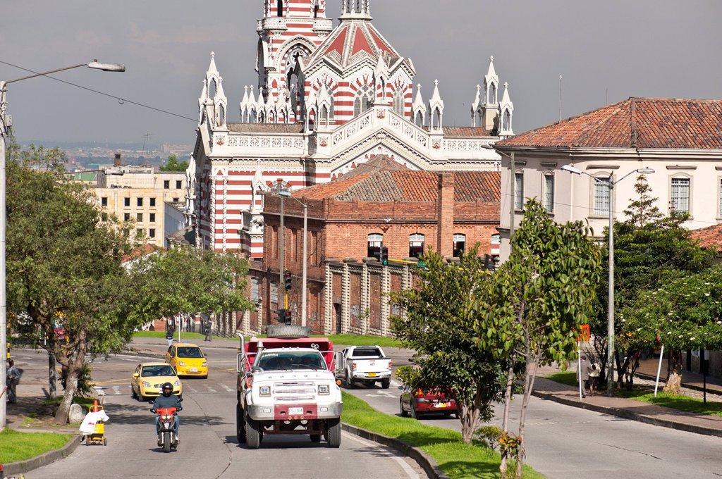 Stock Photo: 1792-126411 Colombia, Cundinamarca Department, Bogota, La Candelaria District, Our Lady of Carmen Church with Neo Gothic style, whose construction began in 1927 was declared a national monument the 30th of April 1993