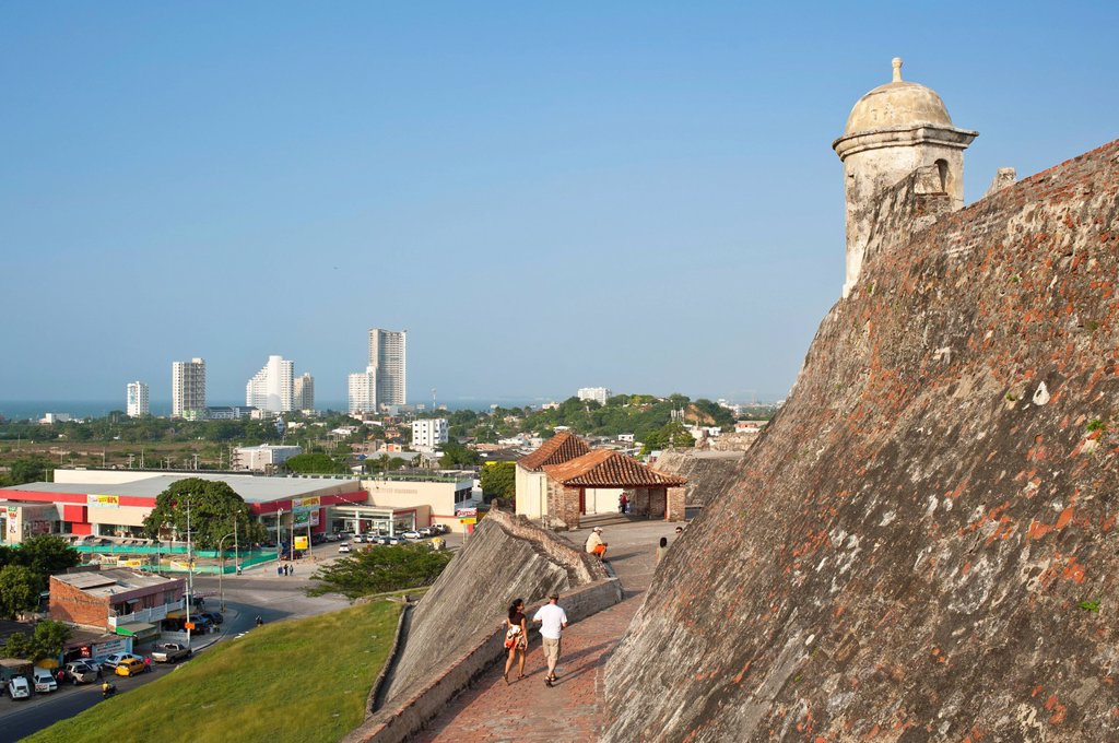 Colombia, Bolivar Department, Cartagena, listed as World Heritage by UNESCO, the castle of San Felipe de Barajas, the largest fortress built by the Spaniards during the Colonial time : Stock Photo