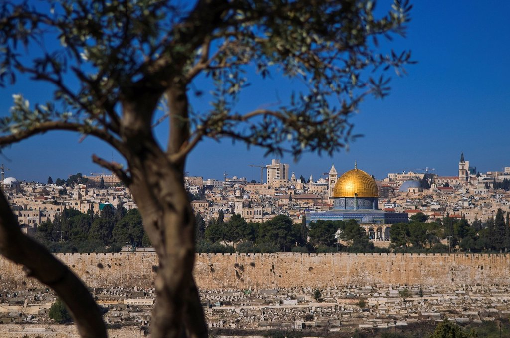 Israel, Jerusalem, holy city, old town, Dome of the Rock and Yeusefiya cemetery seen from the Mount of Olives : Stock Photo