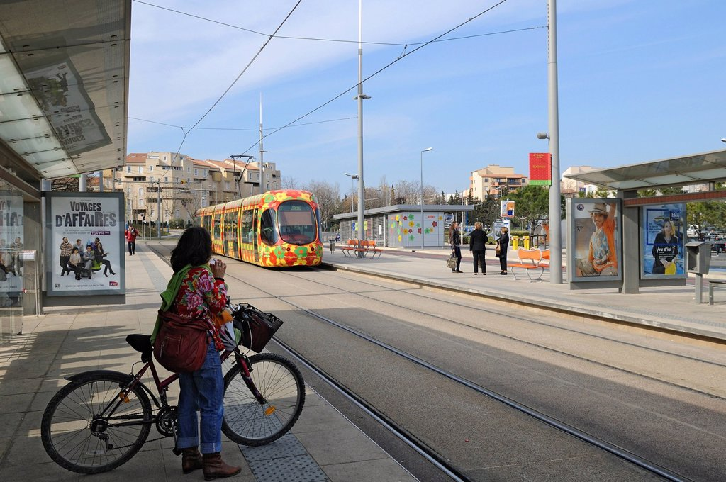 Stock Photo: 1792-127119 France, Herault, Montpellier, Les Sabines quarter, Les Sabines tram station, line 2