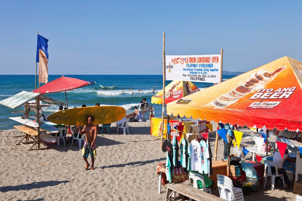 Stock Photo: 1792-127288 Philippines, Luzon island, La Union, San Fernando, the surfing beach of San Juan