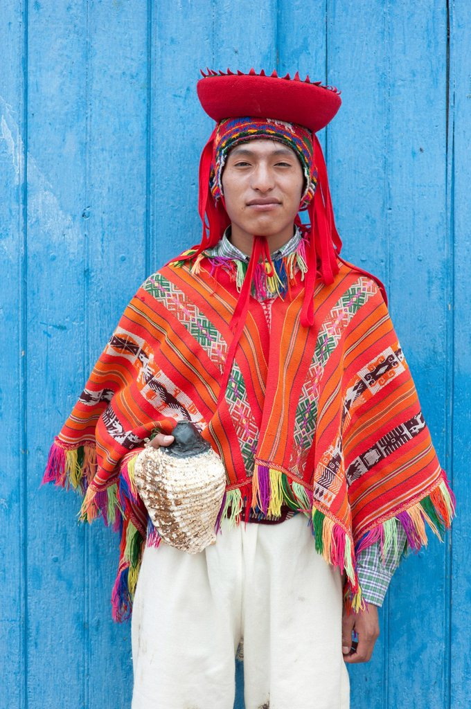 Stock Photo: 1792-127493 Peru, Cuzco Province, Huaro dancer in traditional costume for the festival of maize, Sara Raymi