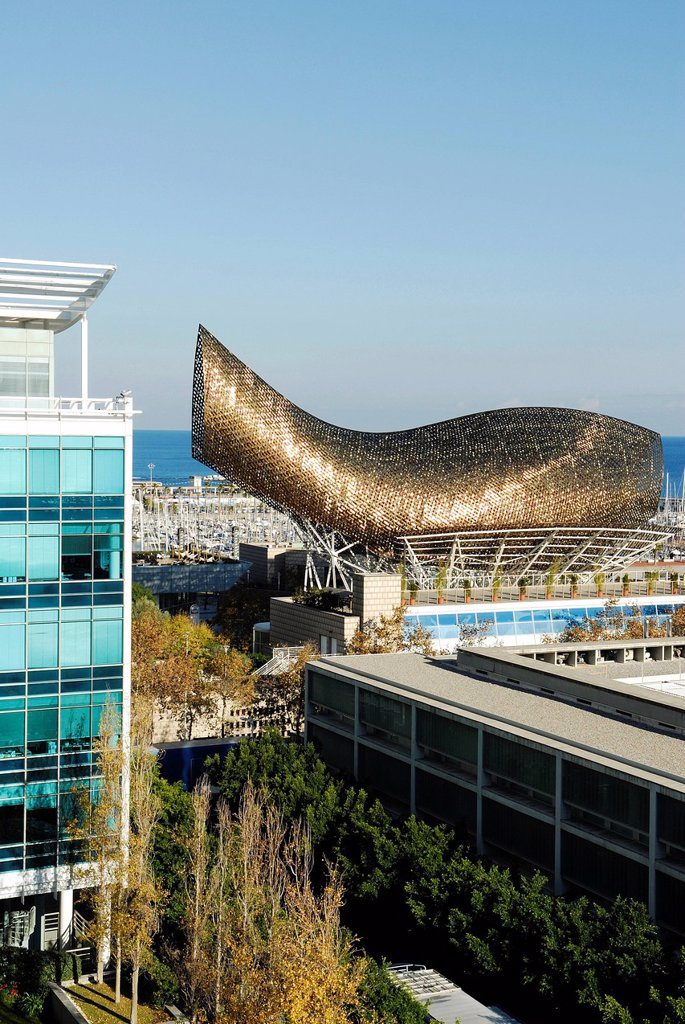 Spain, Catalonia, Barcelona, the Peix or the Ballena Whale by Frank O. Gehry seen from the terrace of Pullman Barcelona Skipper Hotel, Avenida del Litoral 10 : Stock Photo