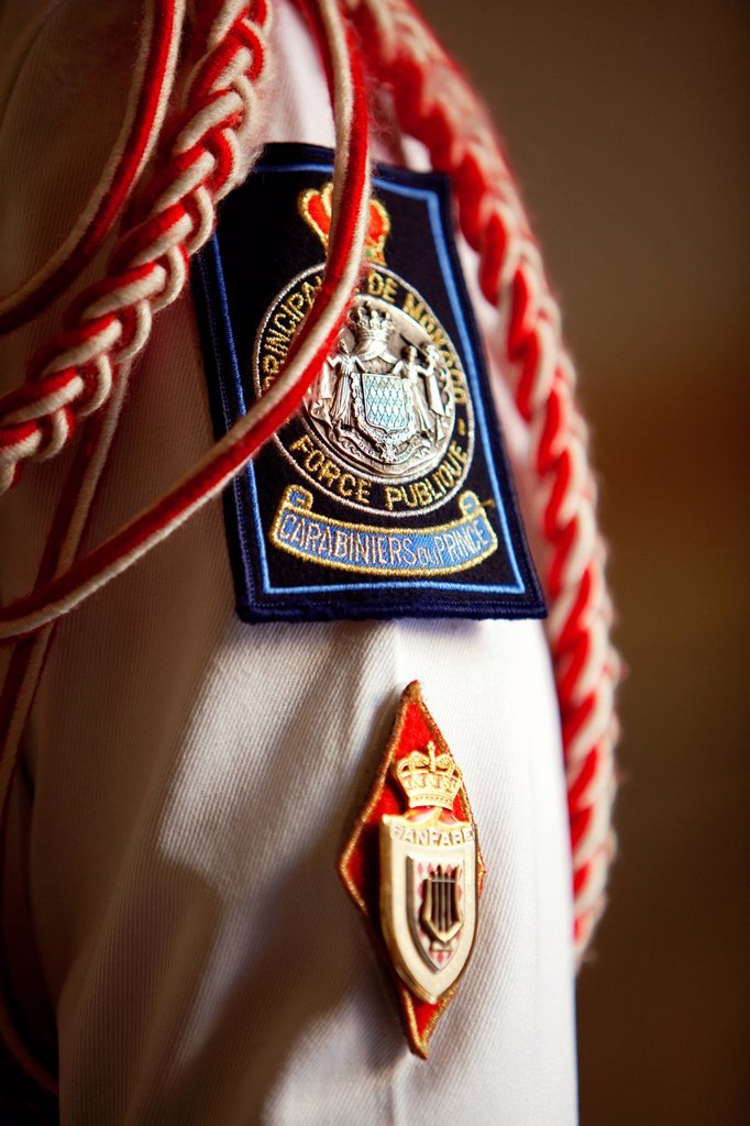 Principality of Monaco, Monaco, the Carabinieri Corps of HSH Prince, Place du Palais Palace square, preparing the changing of the guard in the barracks : Stock Photo