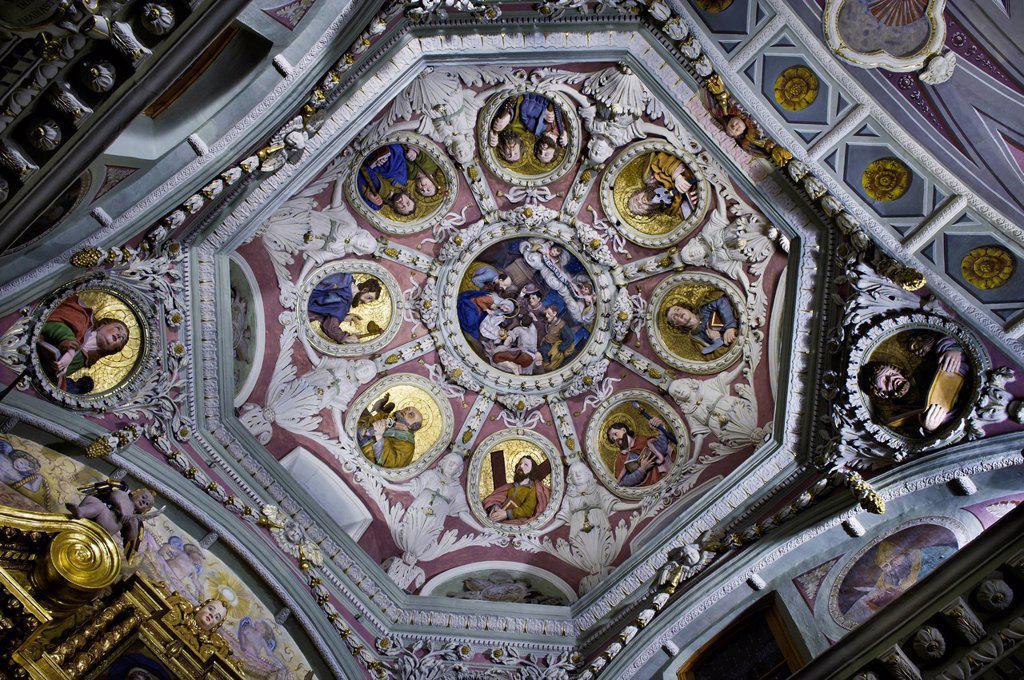 France, Savoie, Avrieux, Les Chemins du Baroque the paths of Baroque, St Thomas Becket church : Stock Photo