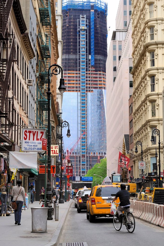 United States, New York City, Manhattan, building the One World Trade Center Freedom Tower : Stock Photo
