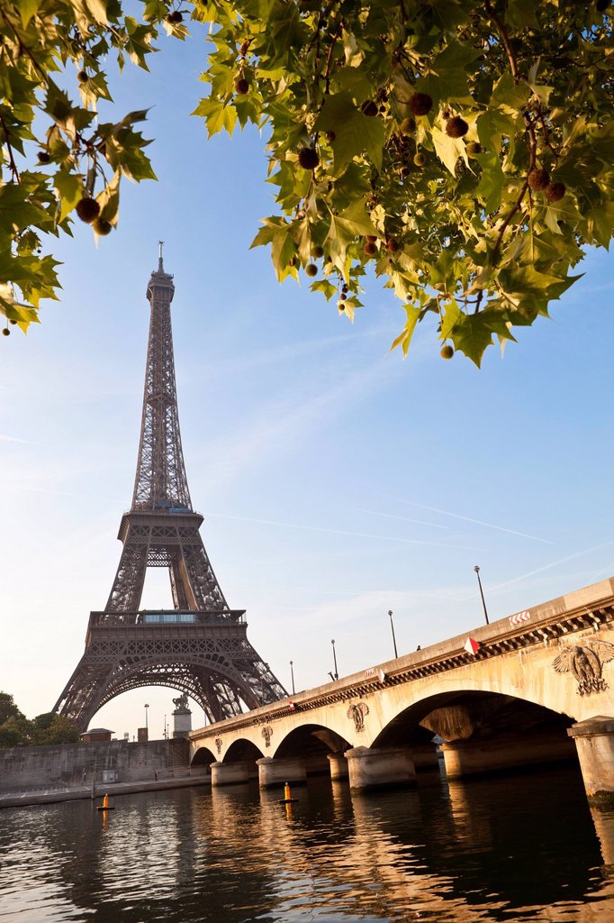 France, Paris, Seine river banks listed as World Heritage by UNESCO, the Iena bridge and the Eiffel Tower : Stock Photo