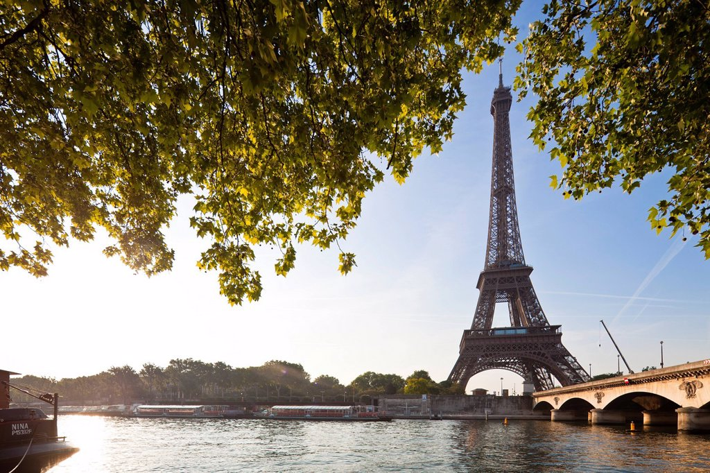 Stock Photo: 1792-128934 France, Paris, Seine river banks listed as World Heritage by UNESCO, the Iena bridge and the Eiffel Tower