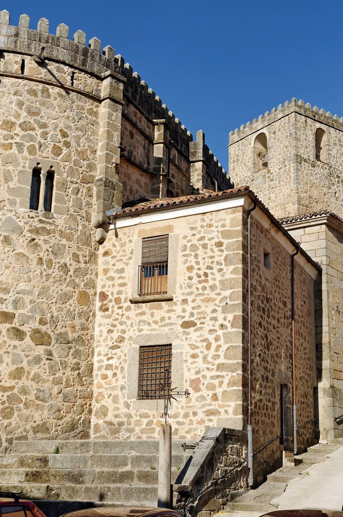 Spain, Extremadura, Jarandilla of Vera, the parish of Santa Maria de la Torre of the 15th Century : Stock Photo