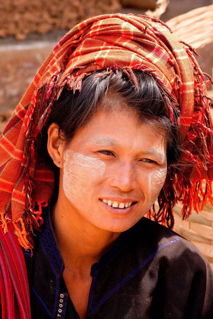 Myanmar Burma, Shan state, Aungban, palaung woman portrait : Stock Photo