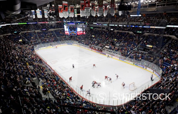 Canada, Quebec province, Quebec, the arena of the Coliseum sports complex, ice hockey team Quebec Remparts game : Stock Photo