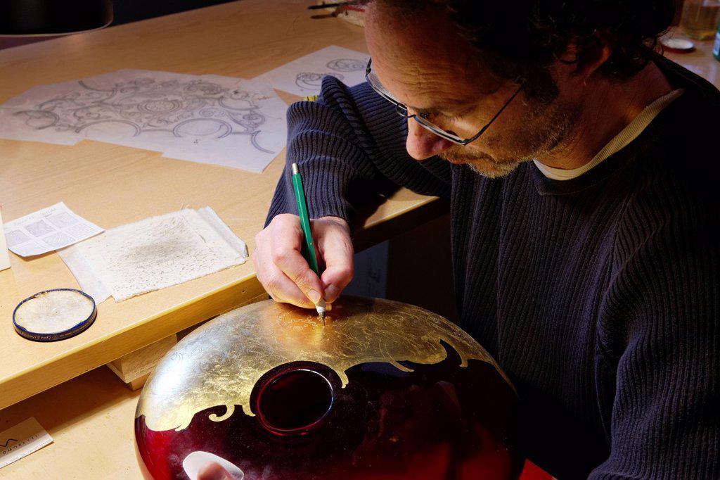 Stock Photo: 1792-129295 Italy, Veneto, Venice, listed as World Heritage by UNESCO, Murano island, Norberto Moretti artist and designer, who created pieces for Salviati glassware, Compulsory Mention : Studio Norberto Moretti