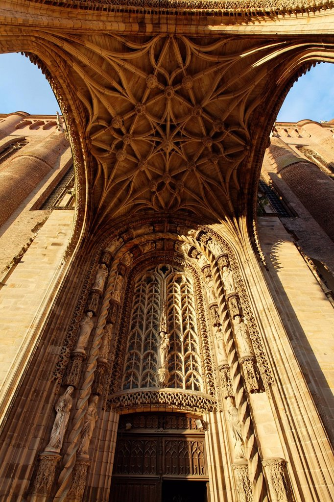 France, Tarn, Albi, the episcopal city, listed as World Heritage by UNESCO, the porch of St Cecilia cathedral : Stock Photo