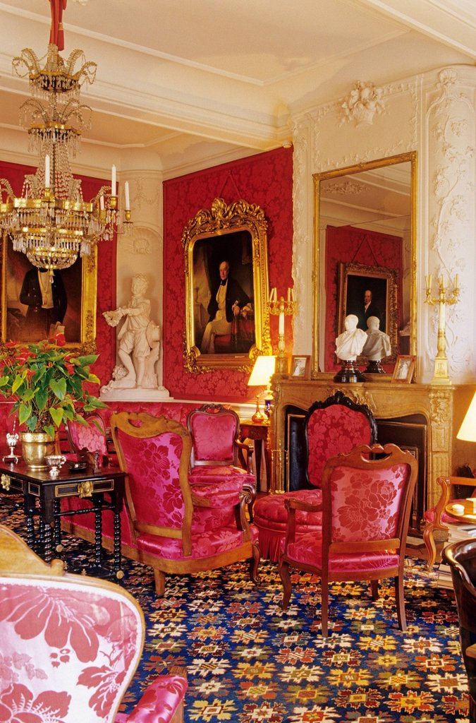 Stock Photo: 1792-130809 France, Gironde, Pauillac, Chateau Lafite Rothschild, the Napoleon III living room in Rothschild style