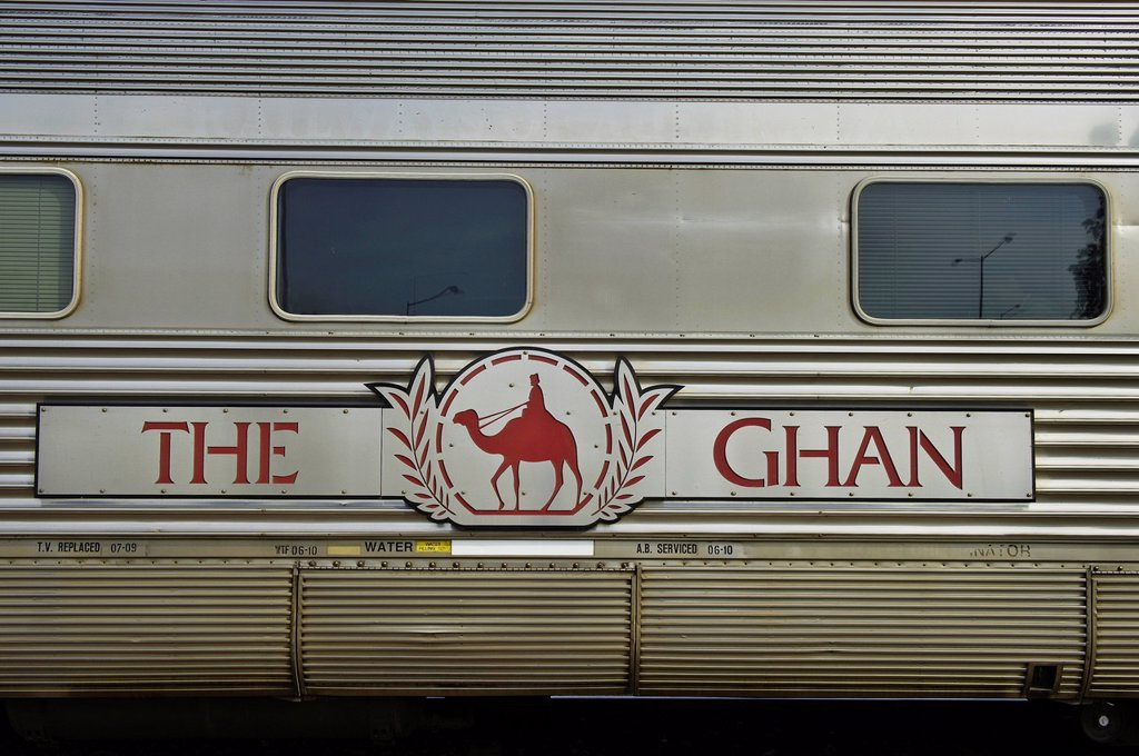 Australia, Northern Territory, Darwin, railway station, Ghan departure, the train named by the camel riders from Afghanisthan whom help to build the line : Stock Photo
