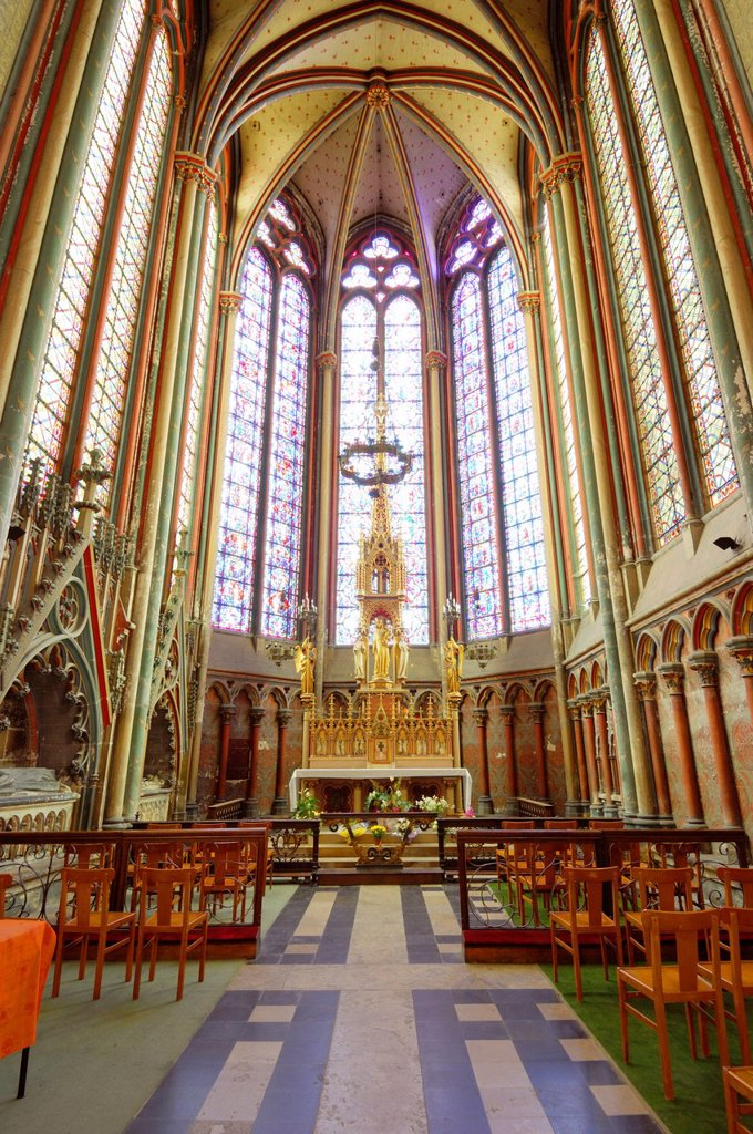 France, Somme, Amiens, Notre Dame d´Amiens Cathedral, listed as World Heritage by UNESCO, the Blessed Sacrament Chapel of the Cathedral : Stock Photo