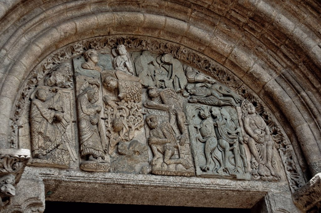Spain, Galicia, Santiago de Compostella, listed as World Heritage by UNESCO, Romanesque tympanum 11th_12th century of the south gate of the cathedral : Stock Photo