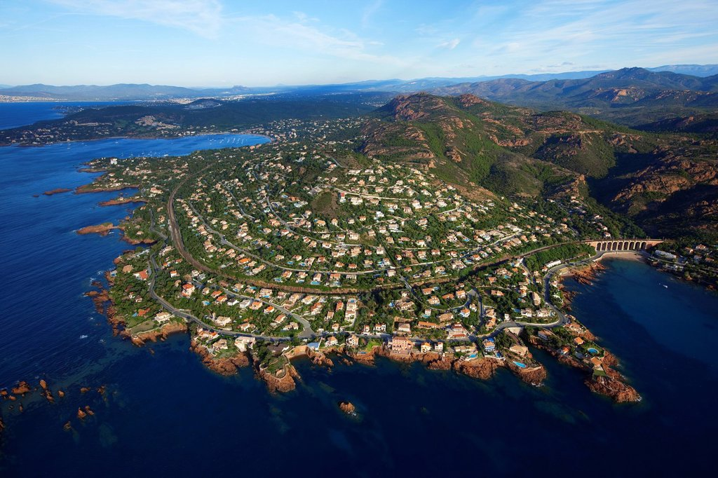 Stock Photo: 1792-132548 France, Var, Esterel, Saint Raphael, antheor, antheor inlet of the Rade d´Agay in the background aerial view