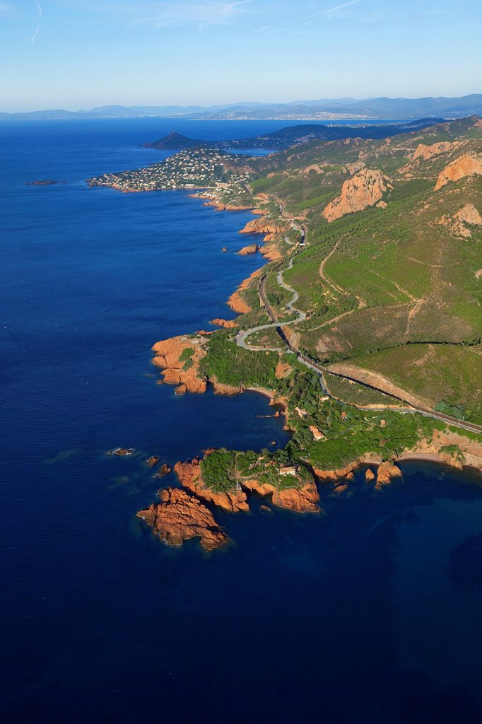 France, Var, Esterel, Corniche d´Or, Saint Barthelemy road D559, Cap Dramont and antheor peak in the background aerial view : Stock Photo