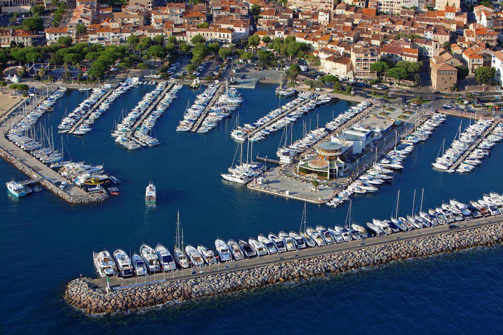 France, Var, Golfe de Saint Tropez, Sainte Maxime, the port aerial view : Stock Photo