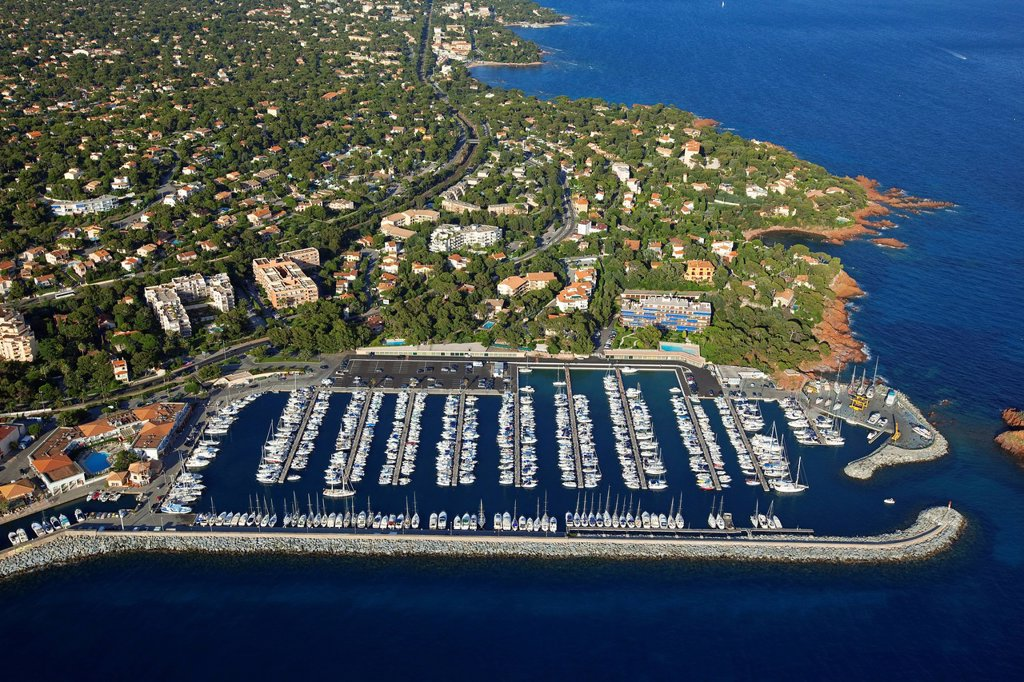 Stock Photo: 1792-132569 France, Var, Saint Raphael, port of Santa Lucia aerial view